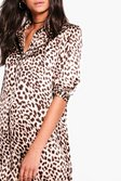 eb373f230d1 ... Womens Brown Tall Freya Silky Leopard Print Shirt Dress alternative  image