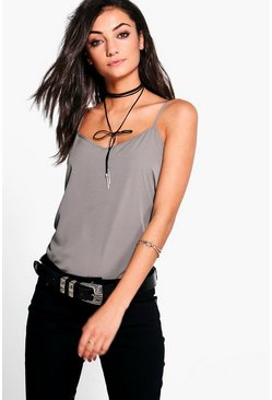 Womens Grey Tall Solid Woven Cami