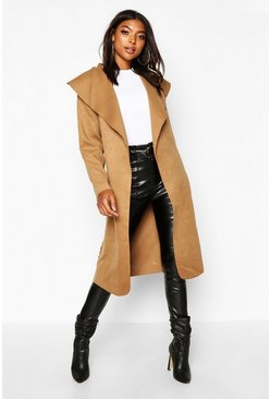 Womens Camel Tall Shawl Jacket