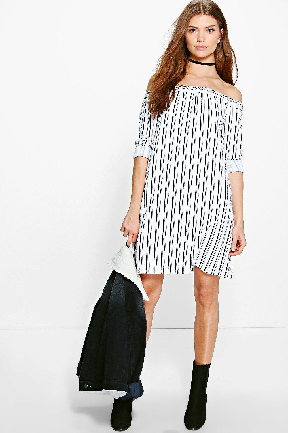 ee7a55eeef27 Tall Lexie Striped Off The Shoulder Dress. Hover to zoom