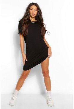 Womens Black Tall Oversized T-Shirt Dress