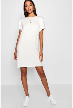 Ivory Tall Oversized T-Shirt Dress