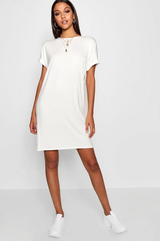 Womens Ivory Tall Oversized T-Shirt Dress