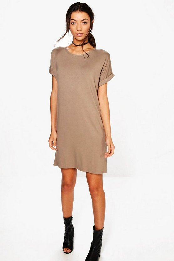 Womens Mocha Tall Oversized T-Shirt Dress