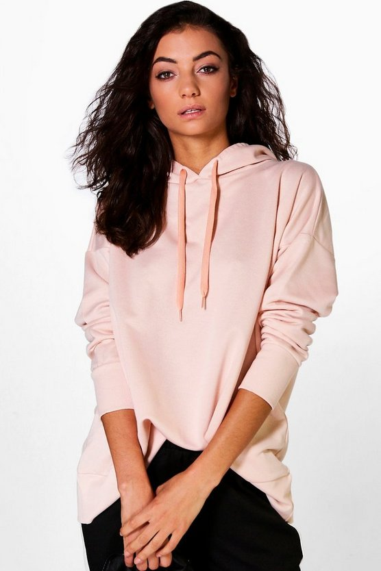 Womens Pale pink Tall Kai Wide Hem Oversized Hoody