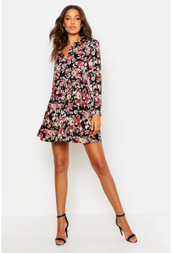 Womens Multi Tall Floral Shirt Dress