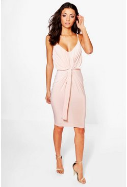 Womens Blush Tall  Slinky Knot Detail Bodycon Dress