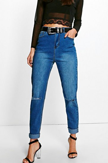Womens Mid blue Tall High Waist Slim Fit Jeans