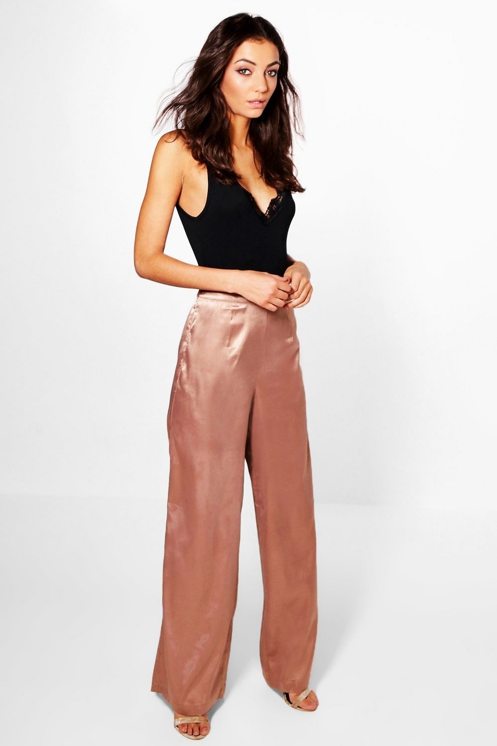 3594e42239d6 Womens Antique rose Tall Mady Satin Wide Leg Trousers