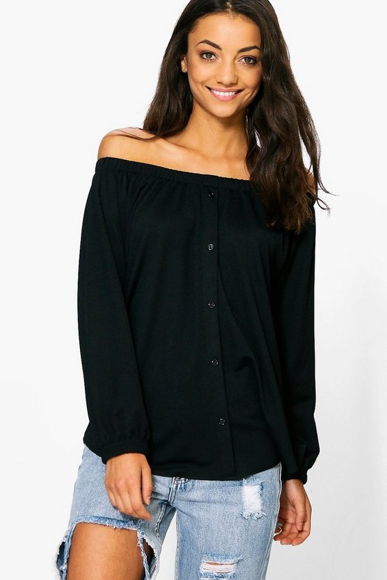 Tall Button Through Off The Shoulder Top