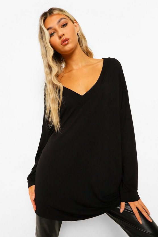 Womens Black Tall  Oversized Long Sleeve Top