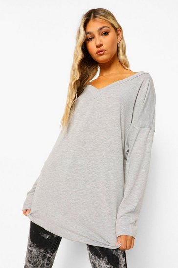 Womens Grey Tall Oversized Long Sleeve Top