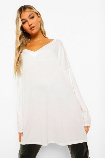 Womens Ivory Tall Oversized Long Sleeve Top