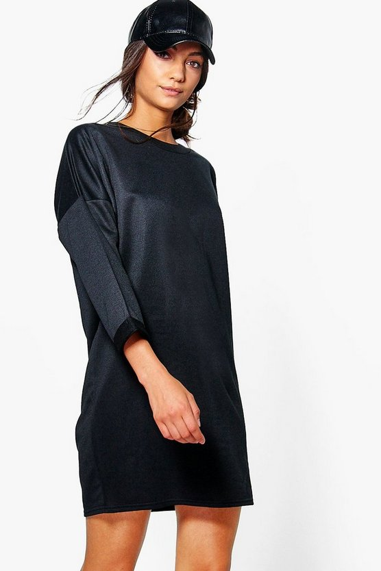 Womens Black Tall Rainee Oversized Sweat Dress