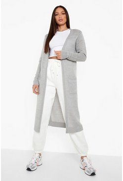 Womens Grey Tall Chunky Knit Longline Cardigan