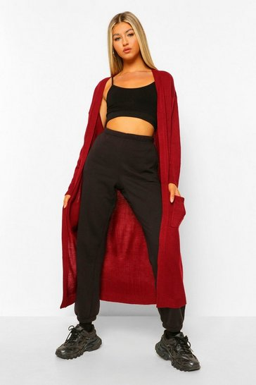Wine Tall Chunky Knit Longline Cardigan