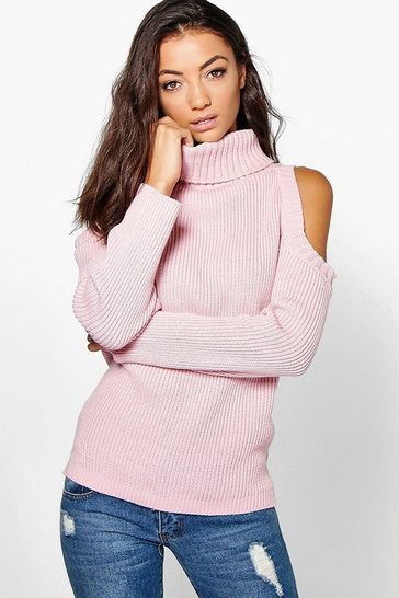 Blush Tall High Neck Cold Shoulder Jumper