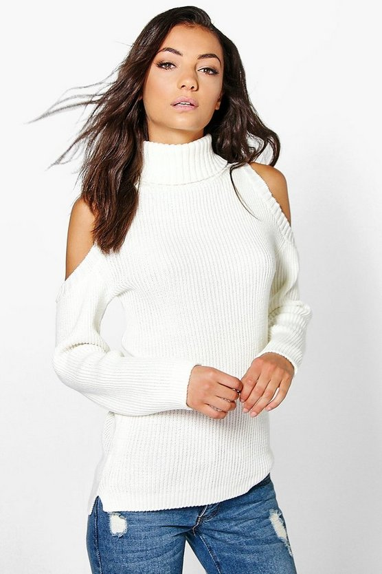 Tall High Neck Cold Shoulder Jumper