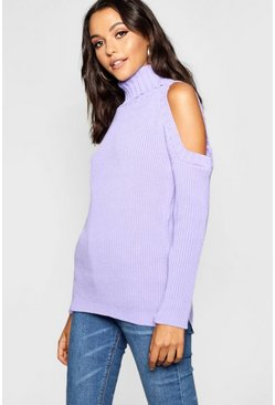Womens Lilac Tall High Neck Cold Shoulder Sweater