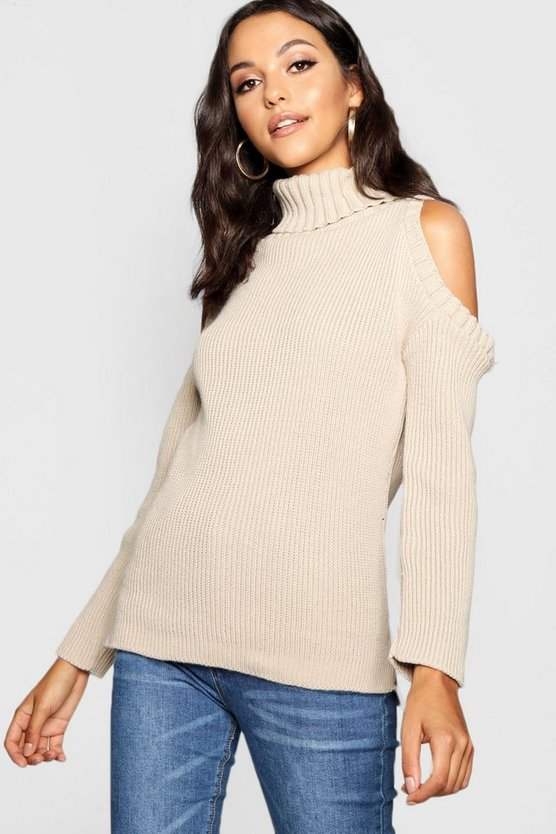 Tall High Neck Cold Shoulder Jumper Tall High Neck Cold Shoulder Jumper by Boohoo