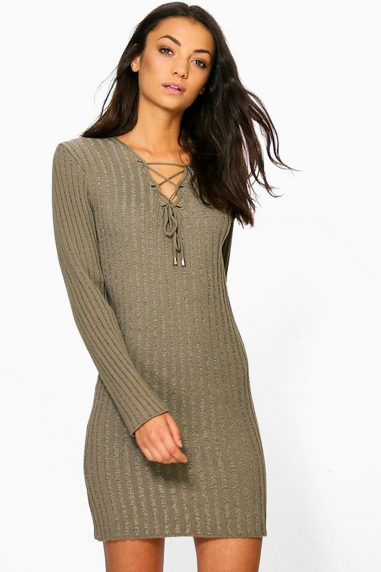 Tall Saffira Lace Up Knitted Dress