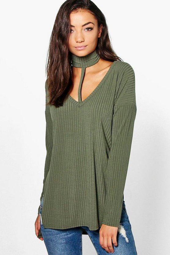 Tall Soft Rib Choker Neck Top
