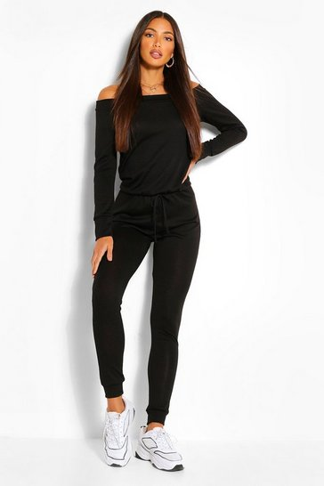 Womens Black Tall  Slash Neck Lounge Jumpsuit