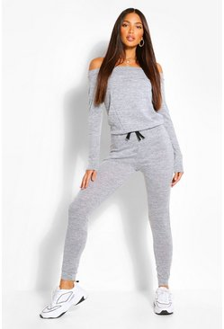 Grey marl Tall  Slash Neck Lounge Jumpsuit