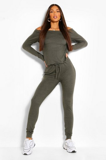 Womens Khaki Tall  Slash Neck Lounge Jumpsuit