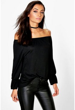 Black Tall  Textured Off The Shoulder Flute Top