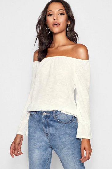 Womens Ivory Tall  Textured Off The Shoulder Flute Top