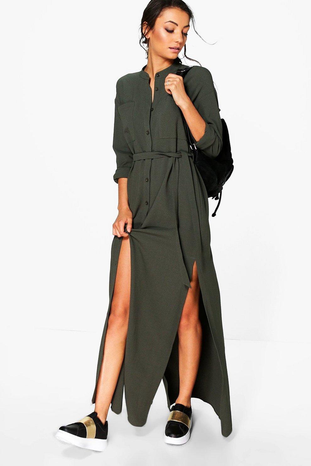 Grandes tailles robe chemise maxi tissée fendue sur les côtés   Boohoo 1ca2e6a1424f