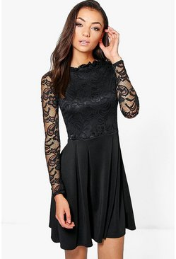 Black Tall  Lace Panel Skater Dress