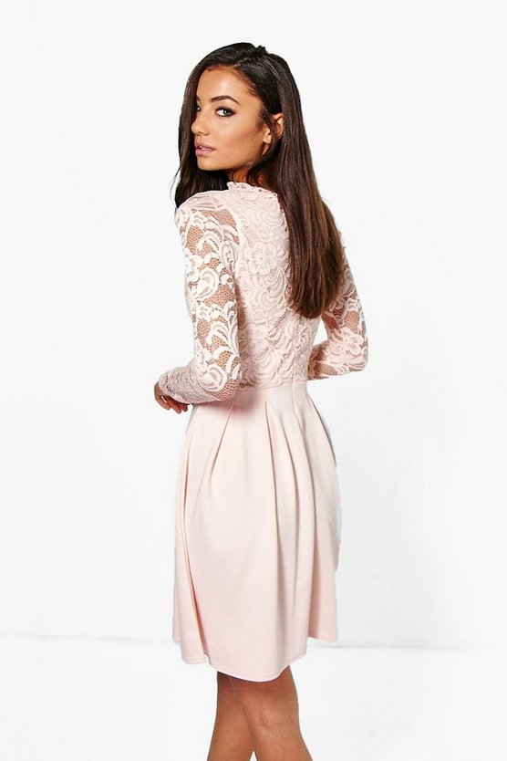 Tall Lace Panel Skater Dress