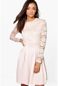 Nude Tall  Lace Panel Skater Dress