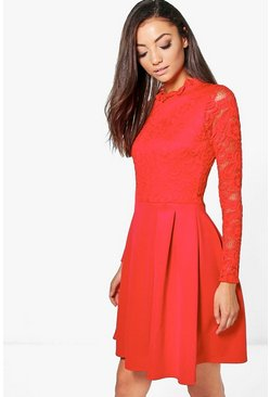 Womens Red Tall  Lace Panel Skater Dress