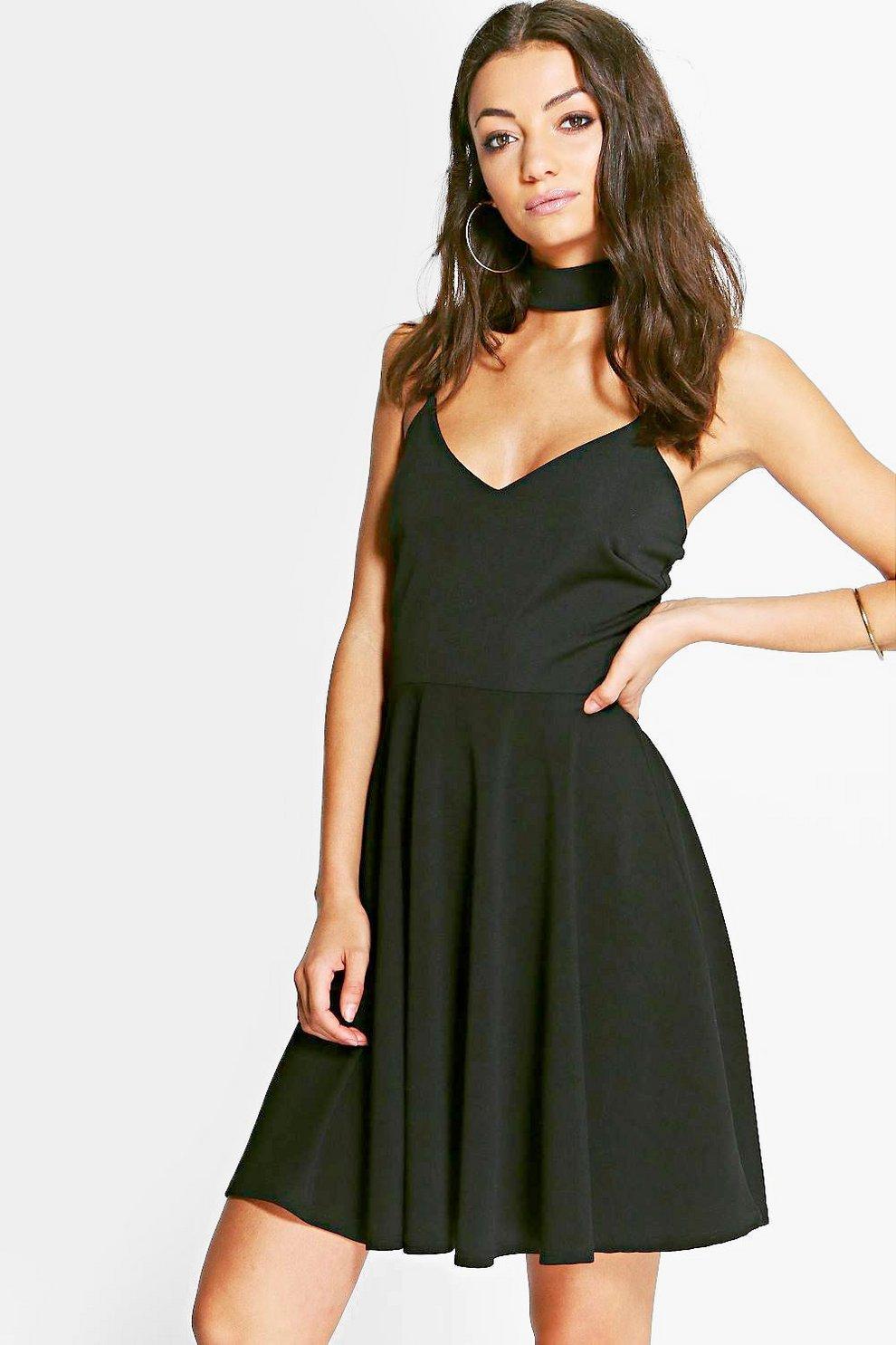 c5249d47f79da Tall Sadie Detachable Choker Strappy Skater Dress | Boohoo