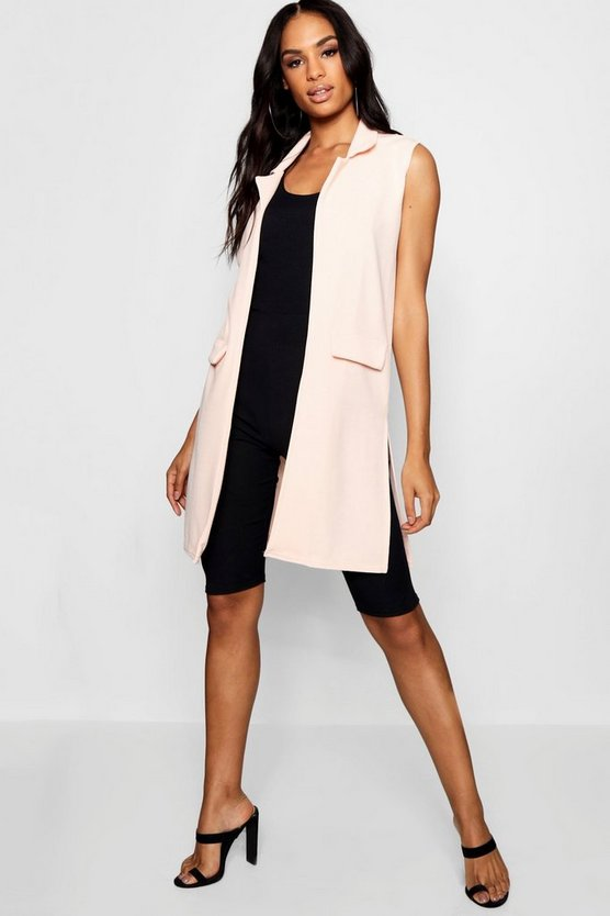 Tall Textured Sleeveless Duster Coat