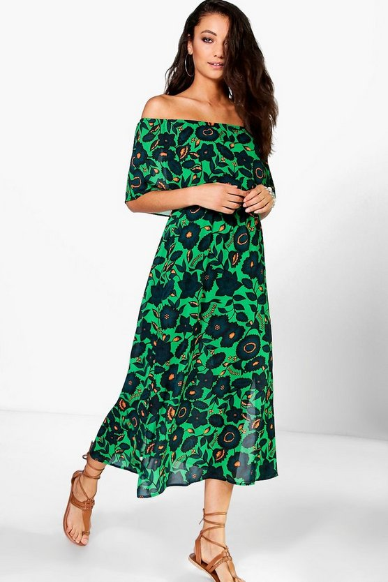Tall Adrea Double Layer Frill Woven Maxi Dress