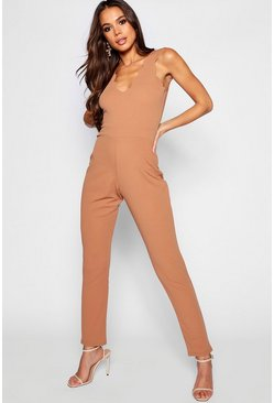 Womens Camel Tall Scallop Edge Plunge Jumpsuit