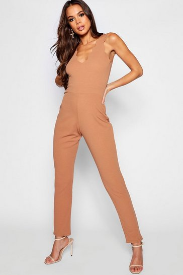 Camel Tall Scallop Edge Plunge Jumpsuit