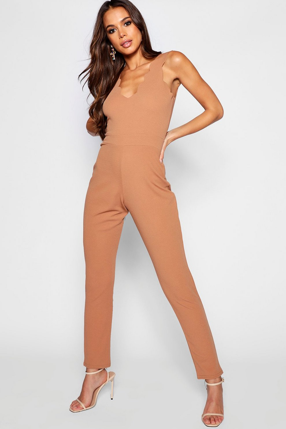 4a90aa3904 Tall Scallop Edge Plunge Jumpsuit