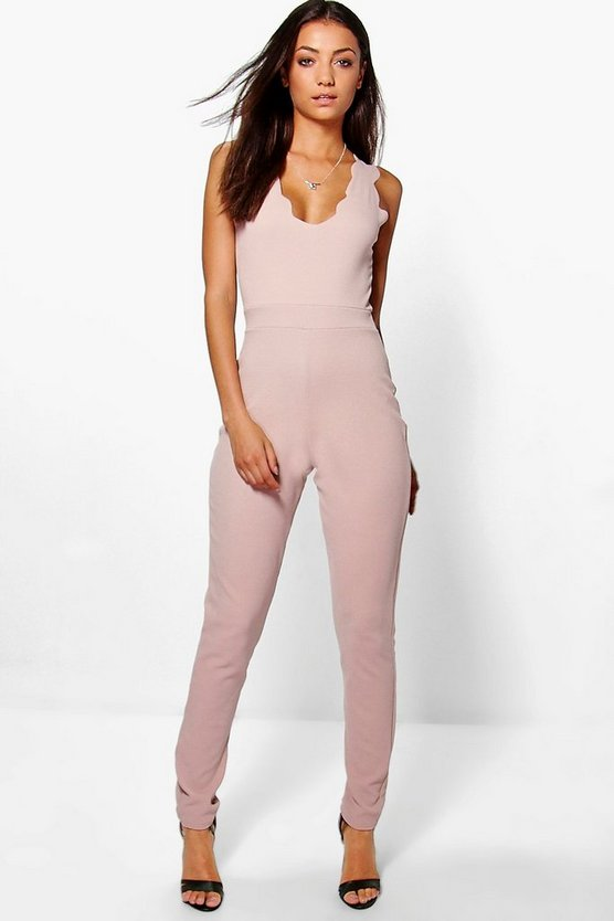 Womens Stone Tall Scallop Edge Plunge Jumpsuit