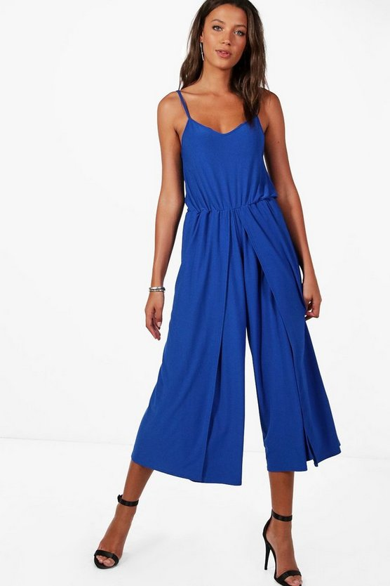 Womens Cobalt Tall Wrap Split Leg Strappy Culotte Jumpsuit