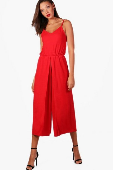 Red Tall  Wrap Split Leg Strappy Culotte Jumpsuit