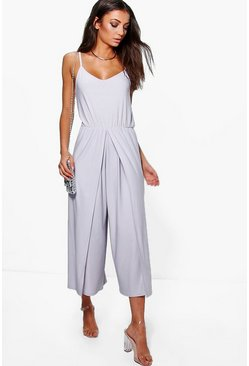 Womens Silver Tall  Wrap Split Leg Strappy Culotte Jumpsuit