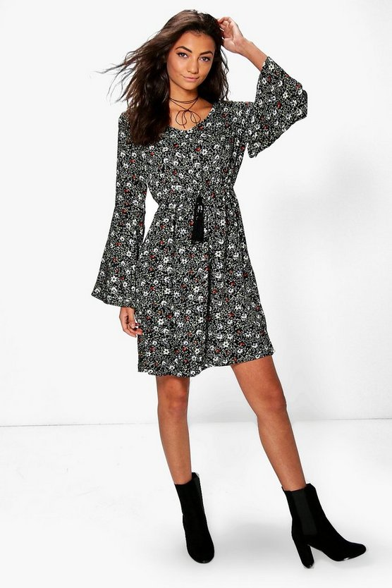 Tall Mya Printed Woven Belle Sleeve Dress