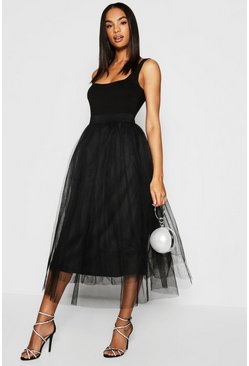 Womens Black Tall  Boutique Tulle Mesh Midi Skirt