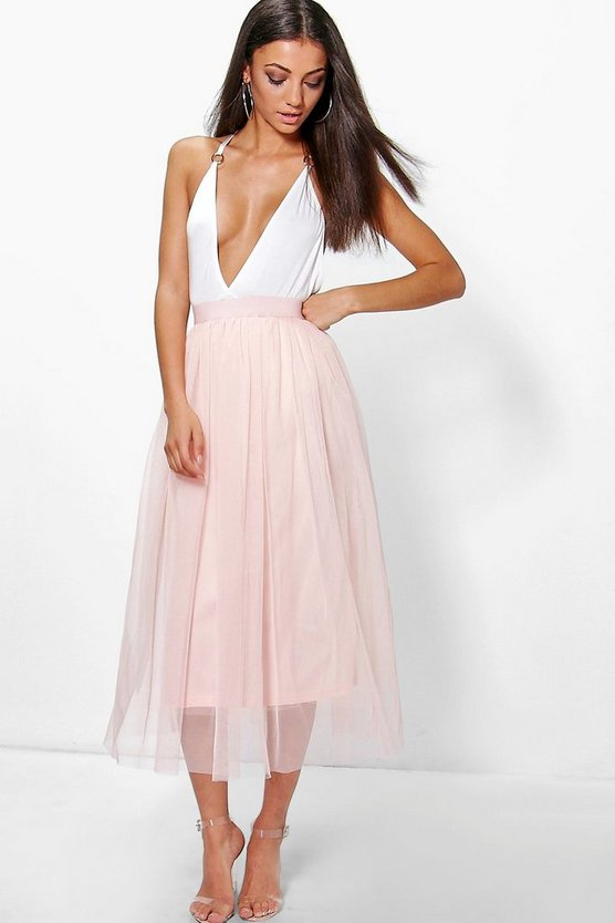 Blush Tall Boutique Tulle Mesh Midi Skirt