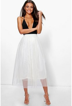 Cream Tall Boutique Tulle Mesh Midi Skirt